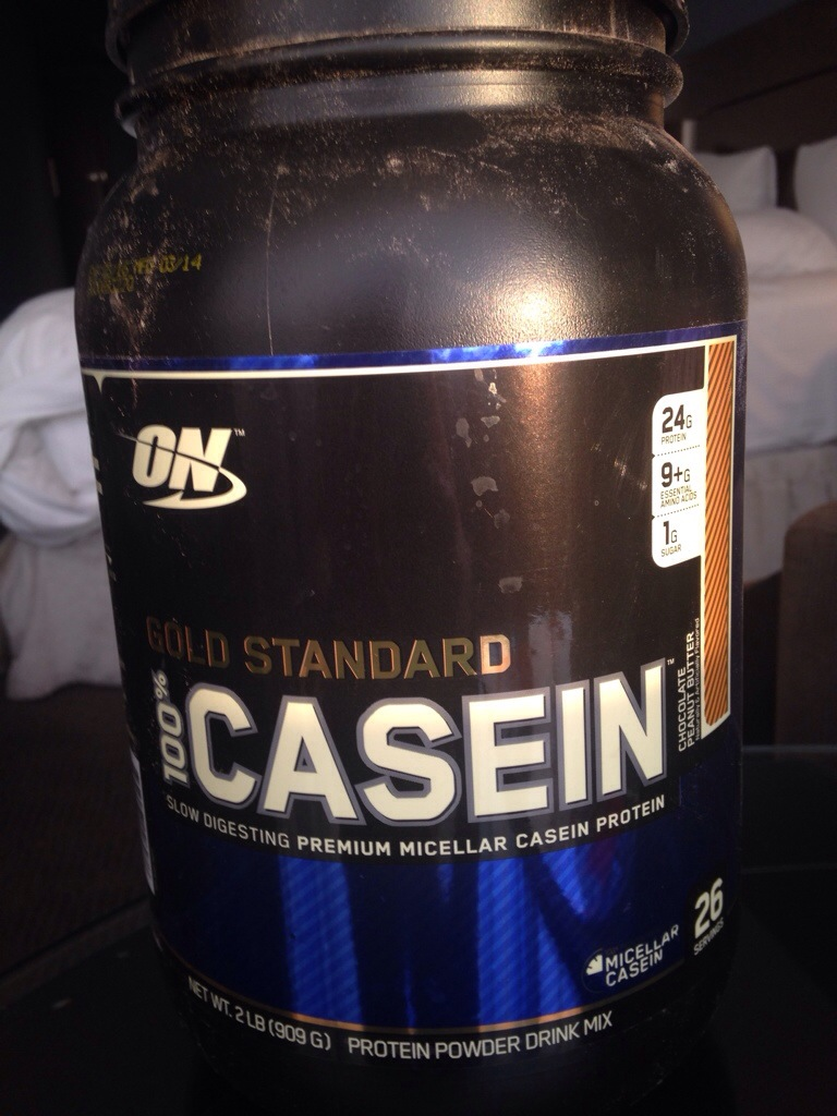 Optimum Nutrition casein protein powder in Peanut Buter Chocolate